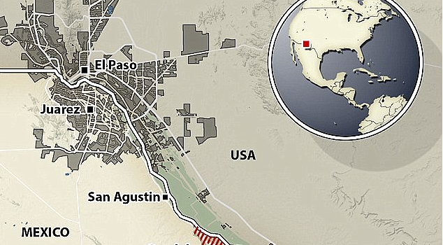 Map of El Paso and Ciudad Juarez. Source: UK Daily Mail.