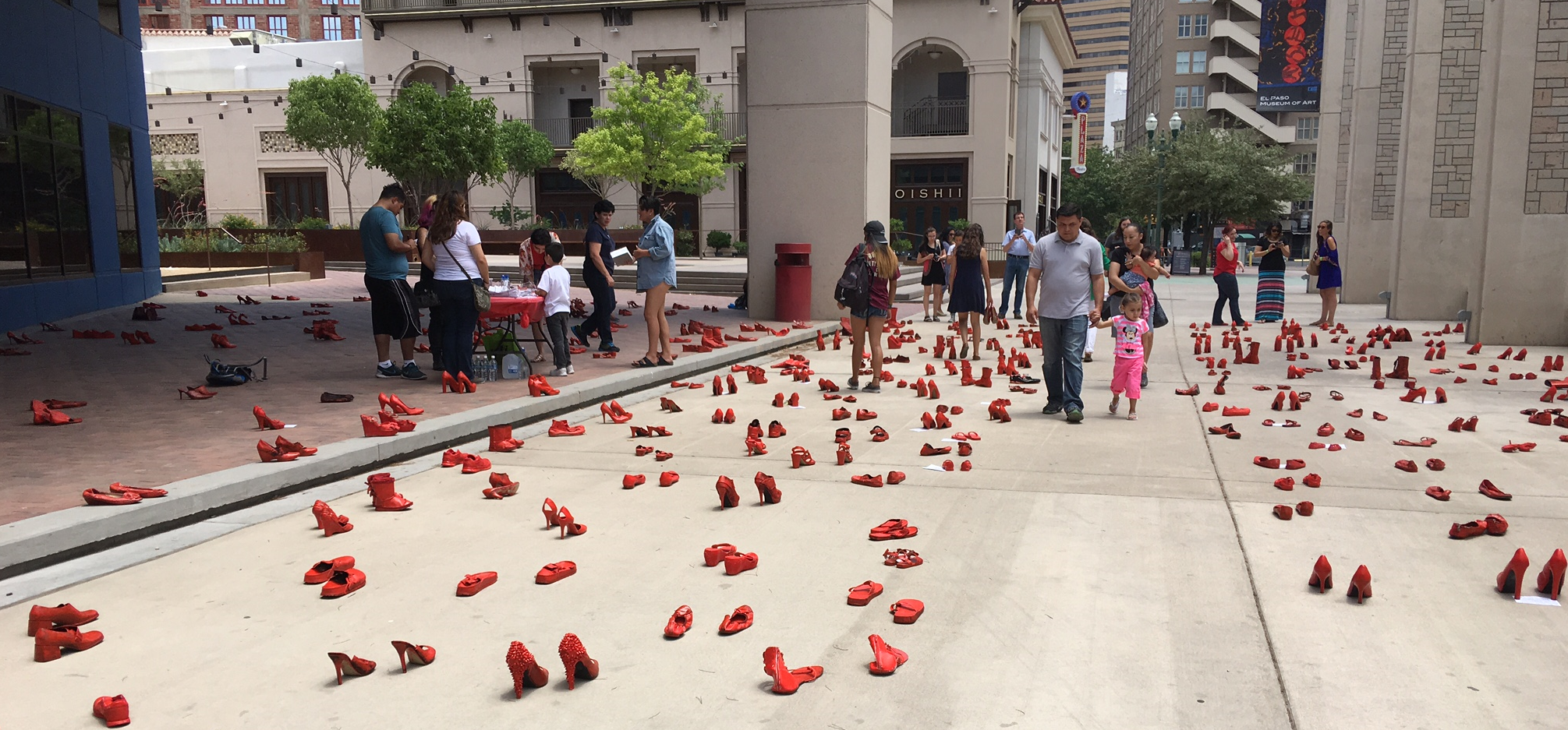 Zapatos Rojos, a public art installation that started in Ciudad Juarez in 2009 as a march of 33 absent women.